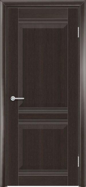 Межкомнатная дверь ПВХ S 48 орех темный рифленый 3