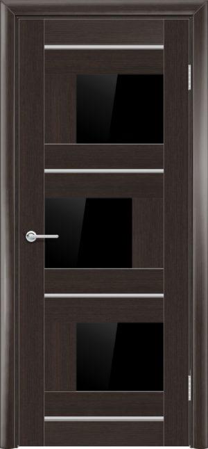 Межкомнатная дверь ПВХ S 5 орех темный рифленый 1