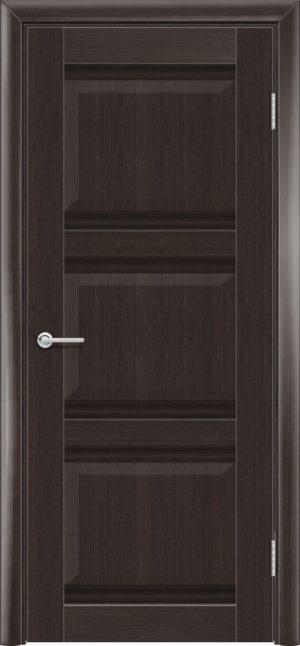 Межкомнатная дверь ПВХ S 50 орех темный рифленый 3
