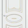Межкомнатная дверь эмаль Б 15 белая патина серебро 1