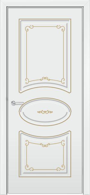 Межкомнатная дверь эмаль Б 12 белоснежная патина золото 3