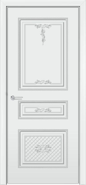 Межкомнатная дверь эмаль Б 13 белоснежная патина серебро 3