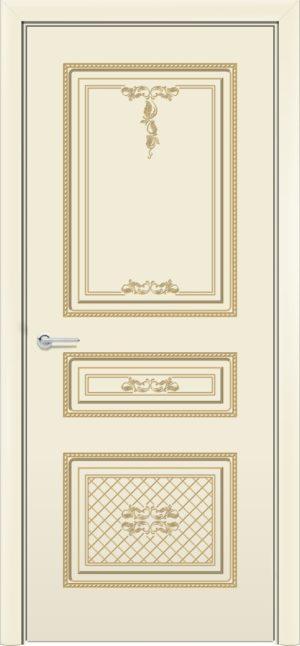 Межкомнатная дверь эмаль Б 13 бежевая патина золото 3