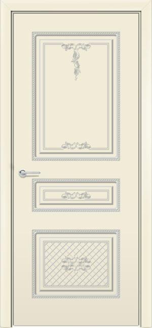 Межкомнатная дверь эмаль Б 13 бежевая патина серебро 3