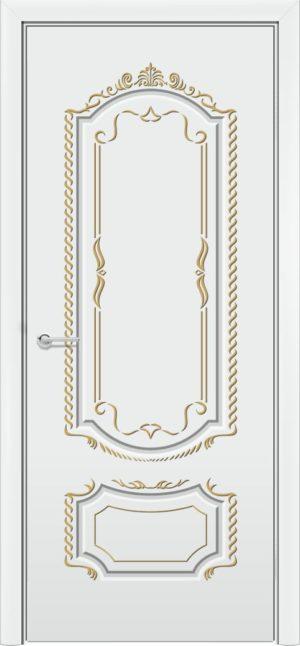 Межкомнатная дверь эмаль Б 16 белоснежная патина золото 3