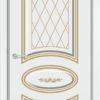 Межкомнатная дверь Б 19 белоснежная патина серебро 1