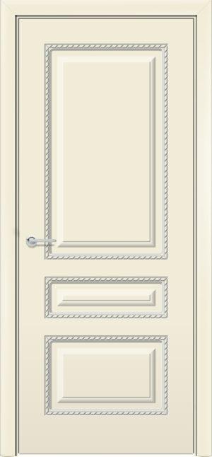 Межкомнатная дверь эмаль Б 2 бежевая патина серебро 3