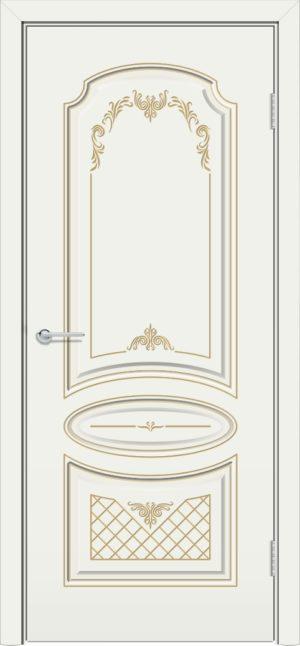Межкомнатная дверь эмаль Б 22 белая патина золото 3