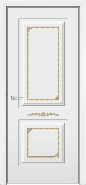 Межкомнатная дверь эмаль Б 3 белоснежная патина золото 3