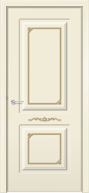 Межкомнатная дверь эмаль Б 3 бежевая патина золото 3