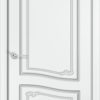 Межкомнатная дверь эмаль Б 11 белоснежная патина серебро 1