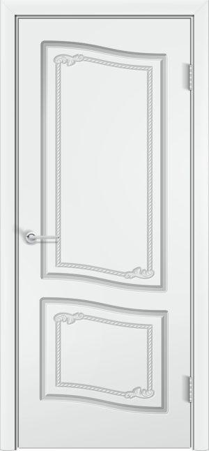 Межкомнатная дверь эмаль Б 4 белоснежная патина серебро 3
