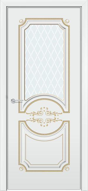 Межкомнатная дверь эмаль Б 5 белоснежная патина золото 4