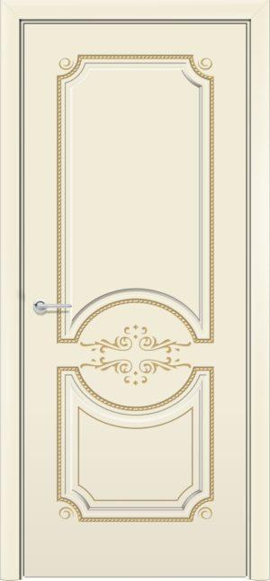 Межкомнатная дверь эмаль Б 5 бежевая патина золото 1