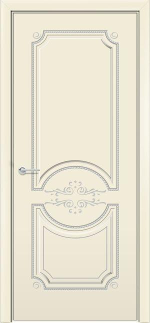 Межкомнатная дверь эмаль Б 5 бежевая патина серебро 3