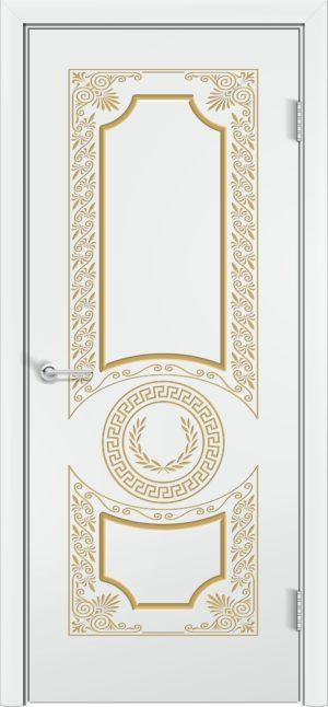 Межкомнатная дверь эмаль Б 6 белоснежная патина золото 3