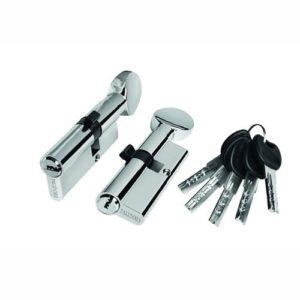 Цилиндр межкомнатный ключ-вертушка хром 1